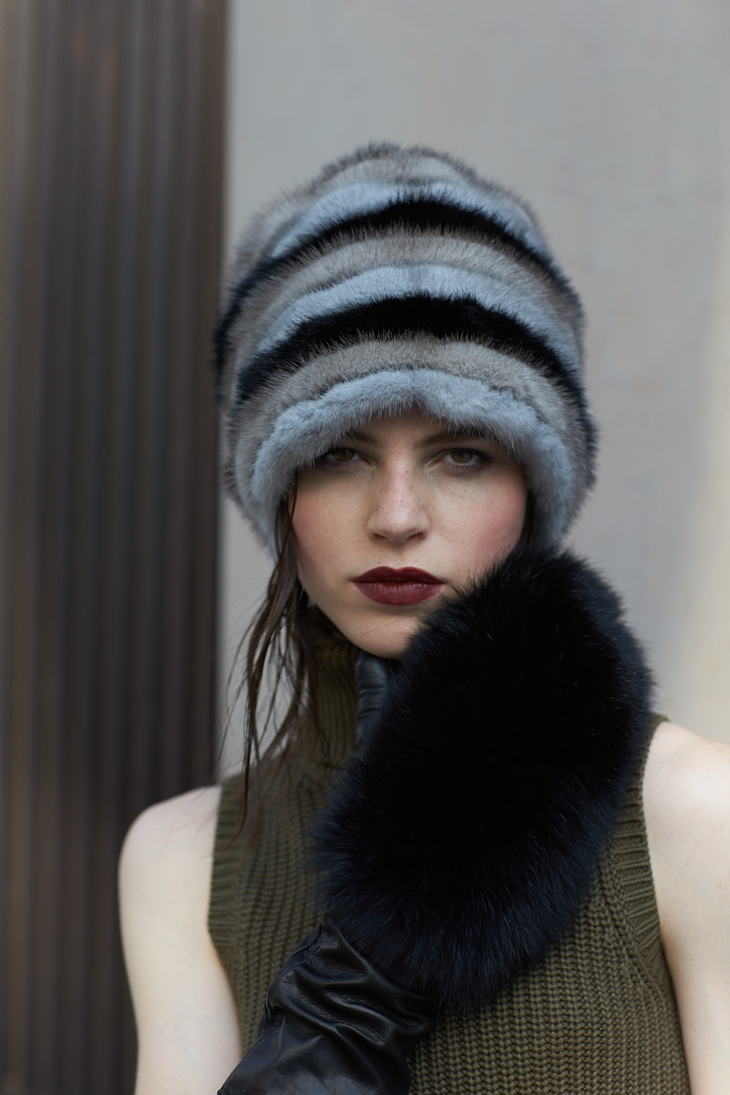 Mink hat models  by Italian producer Paolo Moretti since 1949