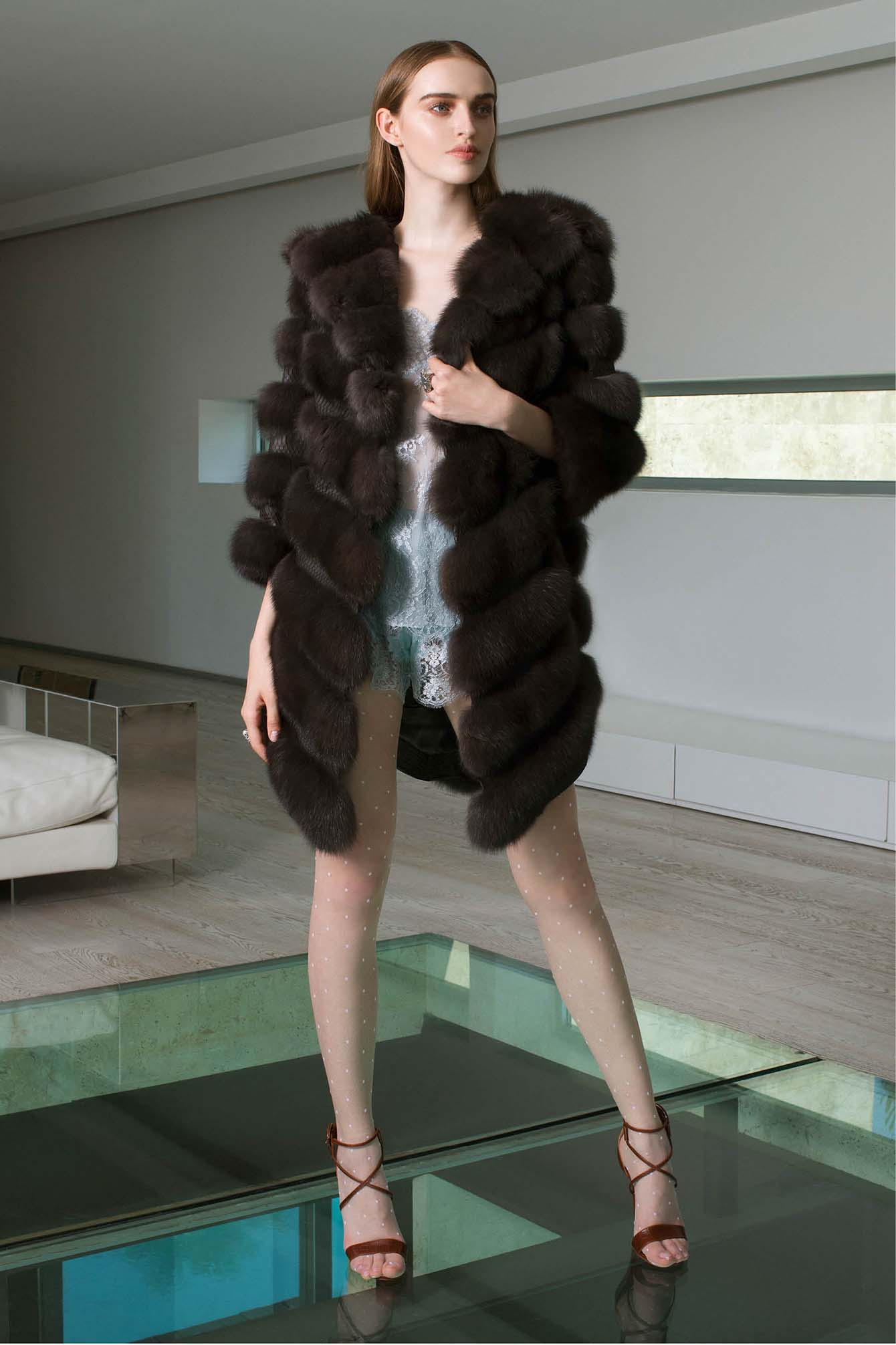 Brown russian sable fur coat  in Italy