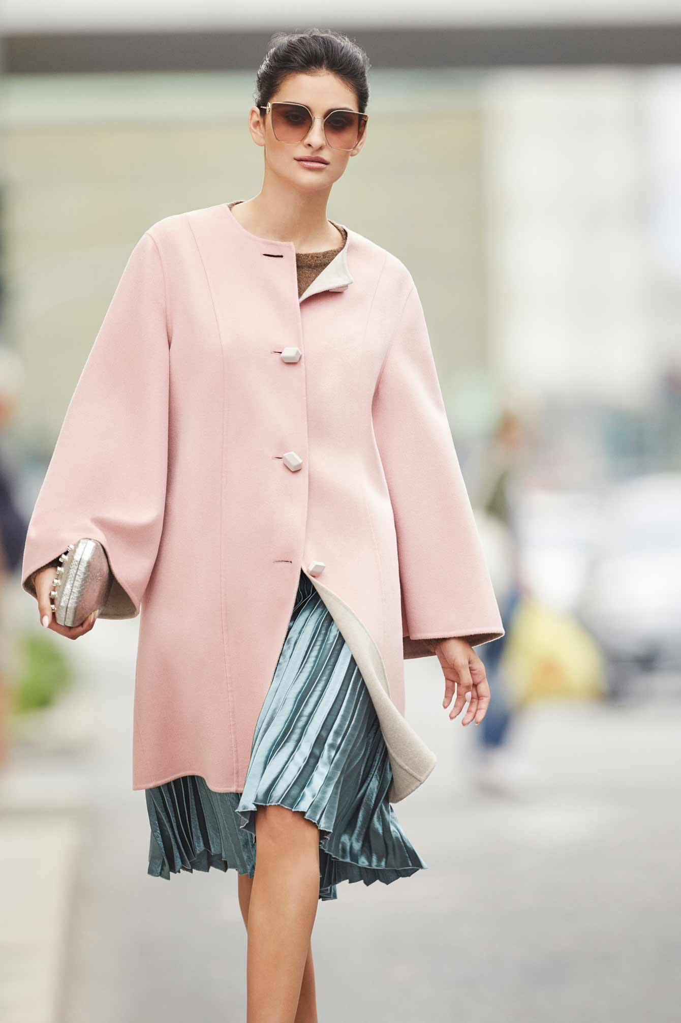 Womens Italian cashmere coat pink color