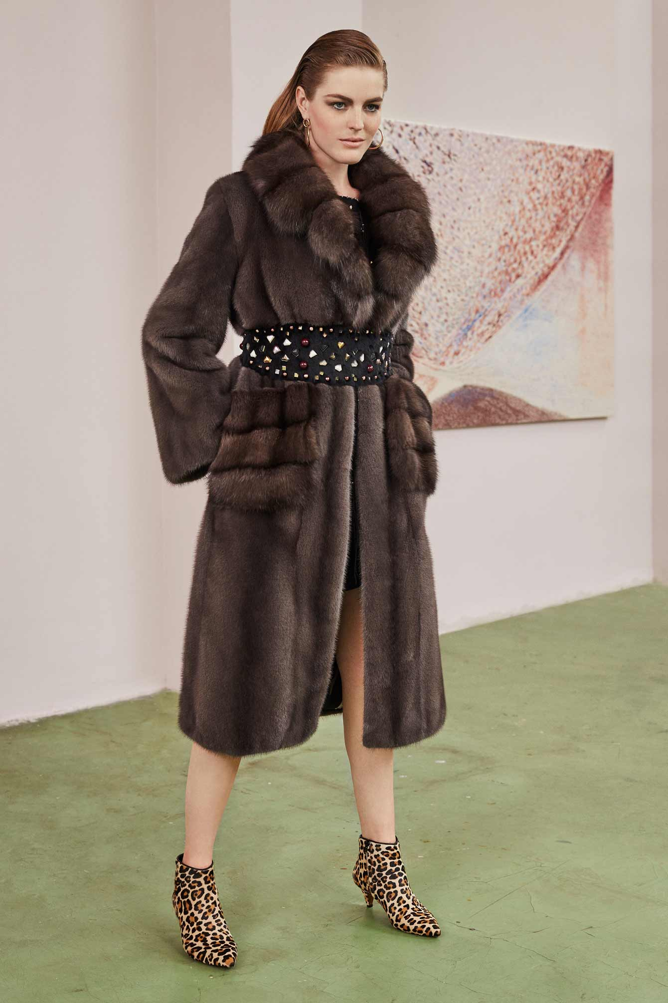 Long mink fur coat with sable
